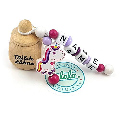 """LALALO Holz Zahndose mit Namen, Taufgeschenk, Zahnbox Milchzähne Box Gravur, Milchzahndose Zahndöschen personalisiert (Aufdruck""""Milchzähne"""", Motivperle Einhorn, Pink Lila)"""