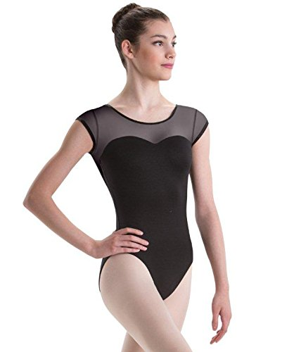 Motionwear Sweetheart Cap Sleeve Dance Leotard, Black Mesh, X-Large Adult