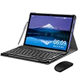 Tablet 10 Zoll 4G LTE, Android 10 Tablet mit Tastatur, 4 GB RAM + 64 GB ROM, 128 GB Erweiterbar, Quad-Core, GMS-Zertifizierung, Tablet PC mit Dual SIM, 8000 mAh Akku, OTG, WiFi, GPS, Bluetooth