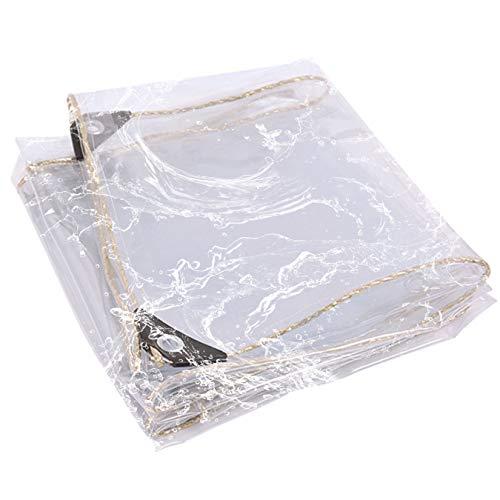 Byrotson Lona Transparente De 0,4 mm De Espesor, Lona de Protección Tela Transparente De Lona De PVC, Toldo Impermeable Anti-Lágrimas con Ojales para Jardín, Muebles, Invernadero,2x3m