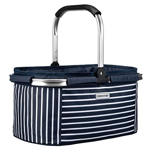 anndora Einkaufskorb 22 Liter Korb Picknickkorb - Navy blau gestreift