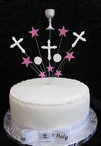 Decoración para tarta de comunión, hecha a mano, con cáliz, cruces, anfitrión y estrellas, ideal para tartas de 20 cm, color rosa y blanco más 1 cinta de satén de santa comunión con lazo de 22 mm