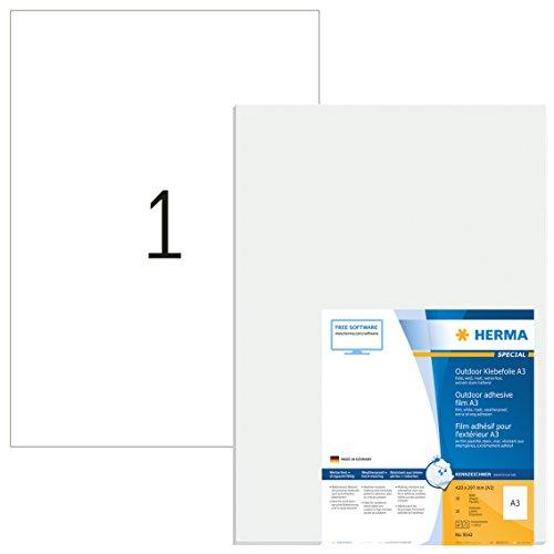 HERMA 9542 Wetterfeste Folien-Etiketten DIN A3 (297 x 420 mm, 10 Blatt, Polyethylen, matt) selbstklebend, bedruckbar, extrem stark haftende Outdoor Klebefolie, 10 Klebeetiketten, weiß