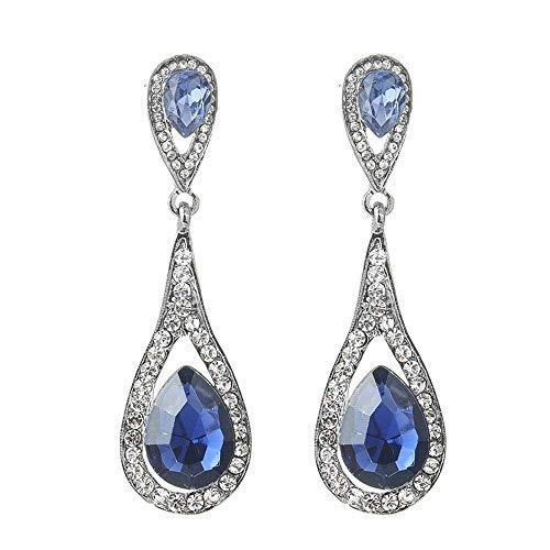 YANGYUAN Pendientes del Rhinestone de los Pendientes Pendientes Elegante de Las señoras Largo Gancho Pendientes Pendientes Pendientes de Gota, 1 par (Color : Blue)