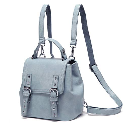 Mini Backpack Purse,VASCHY Vintage 3 Ways to Carry Cute Flap Small Backpack for Women and Girls with Detachable Straps (Sky Blue)