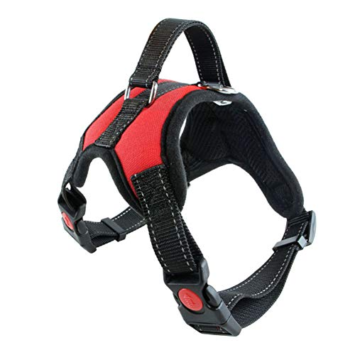 WUNIA Dog Harness, Dog Harness No-Pull Adjustable Pet Vest, Reflective Nylon Material Vest for Dogs Easy Control,Red,L