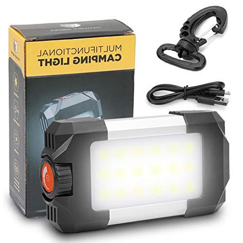 REEXBON Linterna de Camping LED Portátil 6000mAh Impermeable 6 Modos de luz Fija Flash, Faro Regulable y Recargable con Cable USB Powerbank Charge Smartphone [Clase de eficiencia energética A +]