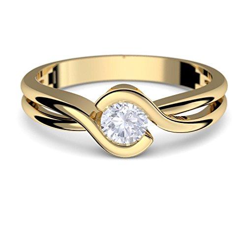 Gold-Ring Verlobungsringe Gelbgold 333 echt Gold von AMOONIC mit Zirkonia Stein inkl. Luxusetui +Goldring Gelbgold Ring wie Diamant Ehering Gold Trauring Damenschmuck FF388GG333ZIFA52