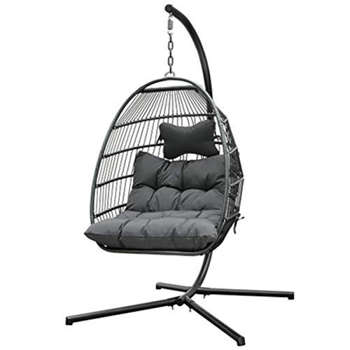 BMNN Wicker Hanging Chair Egg Hammock Chair with Hanging Kits, Rattan Wicker Swing Hanging Chair for Indoor Outdoor, Patio, Garden, Yard Wicker Hanging Chair