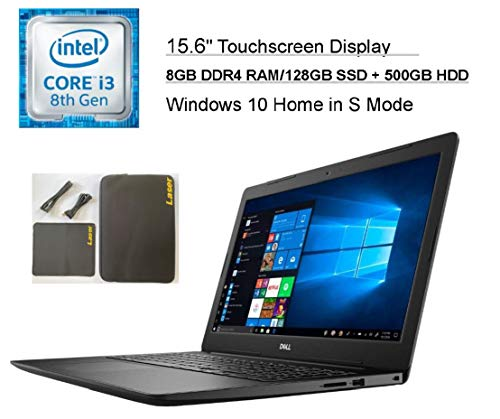 """2020 Dell Inspiron 15.6"""" Touchscreen Business Laptop Computer, Intel Core i3-8145U (Beats i5-7100U), 8GB DDR4 RAM, 128G SSD +500G HDD, AC WiFi, HDMI, USB 3.1, Windows 10 + LASER Accessories and Sleeve"""