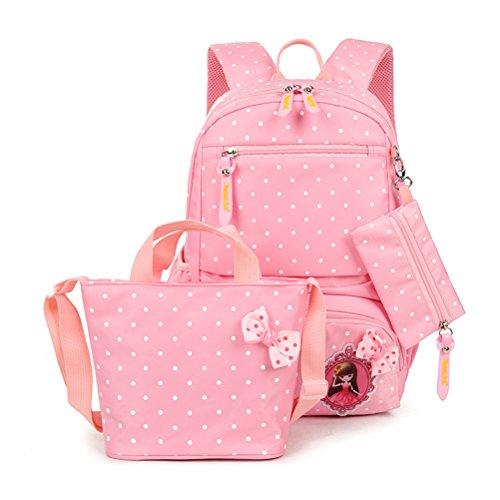 MCUILEE Conjunto de 3 Polka Dot Lindo Las Mochilas Escolares Universidad/Bolsas Escolares/Mochila niños niñas Adolescentes + Bolsa de Mano + Bolsa de lápiz, Rosa