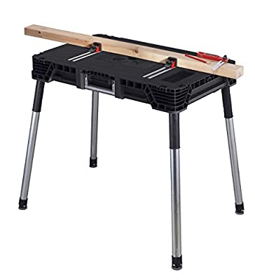 KETER Jobmade Portable Work Bench and Miter Saw Table for Woodworking Tools and Accessories with Included Wood Clamps – Removable Table Legs for Easy Garage Storage from Keter