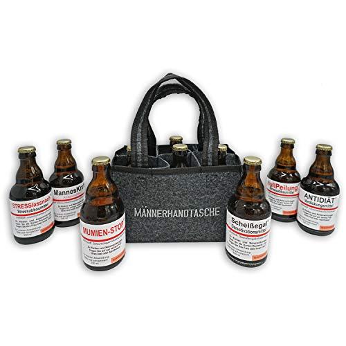 QUATSCHmanufaktur Männerhandtasche/gefüllt mit 6 Bierflaschen/witzige Sprüche/Herrengeschenk/Partygeschenk/Sixpack/für echte Männer