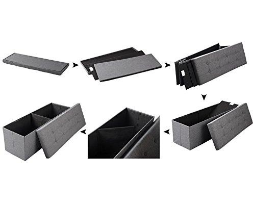 WOLTU Sitzhocker mit Stauraum Sitzbank Faltbar Truhen Aufbewahrungsbox, Deckel Abnehmbar, Gepolsterte Sitzfläche aus Leinen, 110x37,5x38 cm, Dunkelgrau, SH11dgr-1 - 4