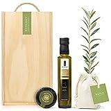 Lote Gourmet Regalo Oleum Boella con árbol olivo natural para plantar, aceite de oliva virgen extra y olivada arbequina