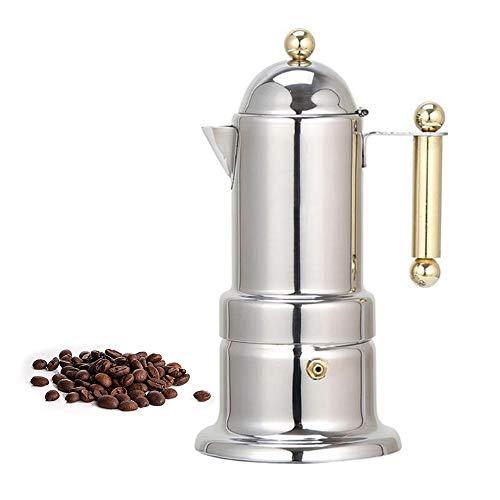 GU YONG TAO Machine à Espresso de 4 plaques de Cuisson - Cafetière Italienne en Acier Inoxydable avec Conception et poignée pour percolateur à café adaptée aux cuisinières à Induction