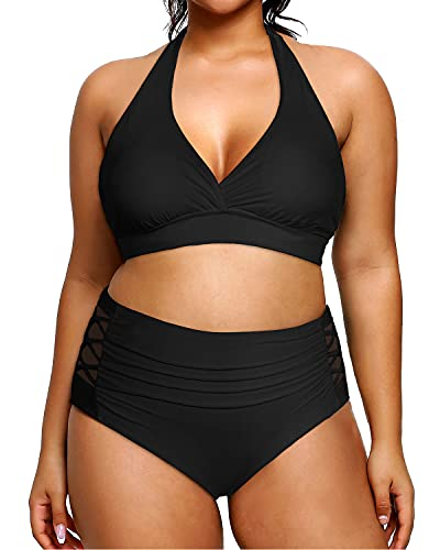 swimsuit for large bust and tummies Yonique Womens Plus Size Halter Bikini Swimsuits High Waisted Swimwear Tummy Control Two Piece Bathing Suits
