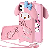 MME Character Case for iPhone 12 Pro Max 3D Cartoon My Melody Pom Pom Purin Duffy Bear Animal Pattern Cover Cute Animal Soft Silicone Rubber Case with Lovers Case (My Melody, 12 Pro Max)