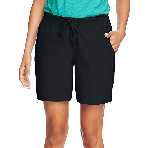 Hanes by Womens Jersey Pocket Short O9264_Black_L
