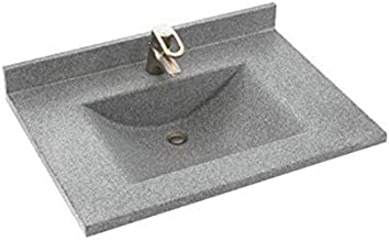 Swan CV02225.042 Contour Solid Surface Single-Bowl Vanity Top, 25-in L X 22-in H X 6.25-in H, Gray Granite