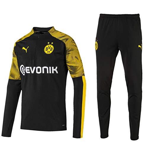 PUMA BVB Fanartikel Borussia Dortmund Trainingsanzug 2019/20 Herren, Größe:M, Farbe:Schwarz