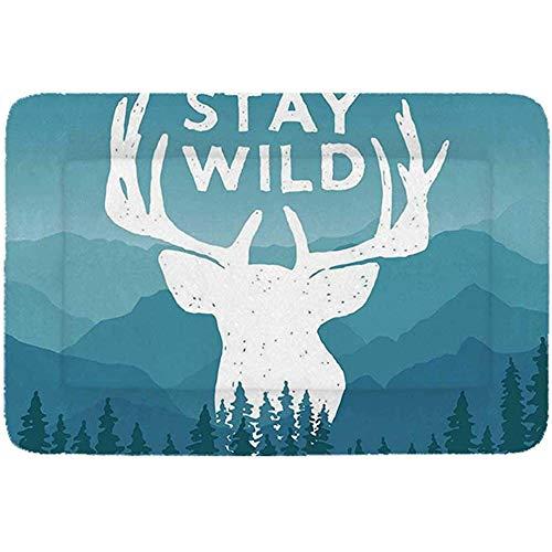 YAGEAD Adventure Einfaches Haustierbett, Wilderness Themed Stay Wild Quote mit malerischem Gebirgshintergrund Forest Decorative