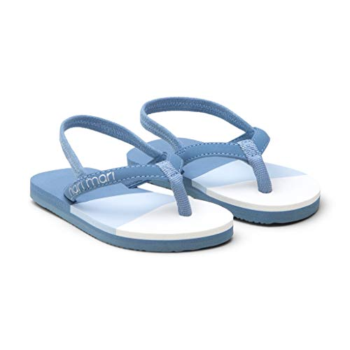 Hari Mari Meadows Asana - Dusty Blue Girl's Premium Foam Rubber Flip Flops with Leather Straps and Rubber Outsoles K9