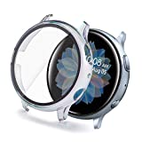 Yolovie Compatible for Samsung Galaxy Watch Active 2 40mm Case Tempered Glass Screen Protector Ultra-Thin HD Slim Cover Bumper Hard PC Overall Protective Frame Bubble-Free (Active2 40mm ClearColorful)