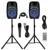 Pair Alphasonik All-in-one 10' Powered 1000W PRO DJ Amplified Loud Speakers with Bluetooth USB SD Card AUX MP3 FM Radio PA System LED Lights Karaoke Mic Guitar Amp 2 Tripod Stands Cable and Microphone