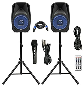 Pair Alphasonik All-in-one 8  Powered 800W PRO DJ Amplified Loud Speakers with Bluetooth USB SD Card AUX MP3 FM Radio PA System LED Lights Karaoke Mic Guitar Amp 2 Tripod Stands Cable and Microphone
