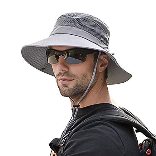 SIYWINA Sonnenhut Herren UV Schutz Safari Hut Sommer Outdoor Fischerhut Buschhut , Grau