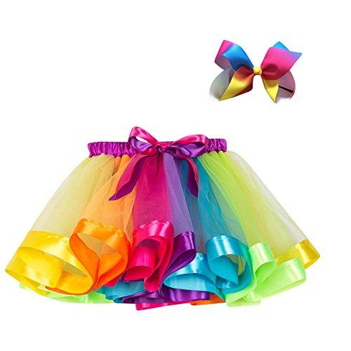 Kobay Kinder Mädchen Mesh Regenbogen Prinzessin Ballett Tutu Performance Rock + Bow Haarnadel Set(5-7T,Mehrfarbig)