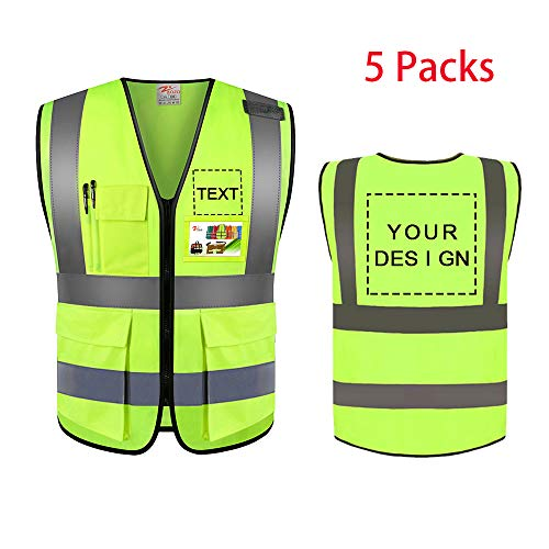Zojo High Visibility Safety Vests With Pockets Custom Your Logo & Design 5Pcs Protective Workwear With Reflective Strips Wholesale for Outdoor Work fit for Men & Women (Neon Yellow (2XL))