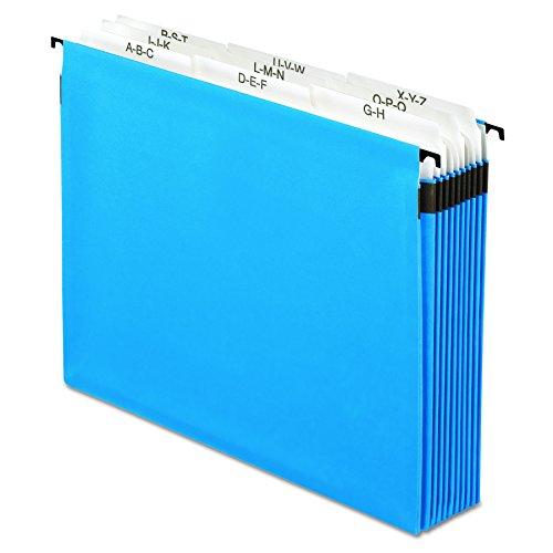 Pendaflex 59225 Nine-Section Hanging Folder, 5 1/4', Tabs and Labels, 1/5 Tab, Letter, Blue