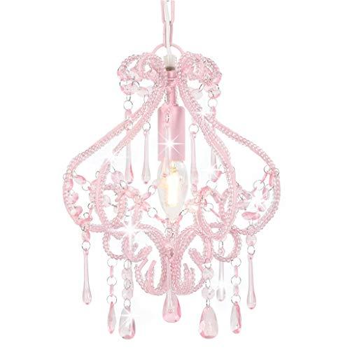 vidaXL Deckenleuchte mit Perlen Kronleuchter Pendelleuchte Hängelampe Lüster Kristall Deckenlampe Hängeleuchte Lampe Leuchte Rosa Rund E14