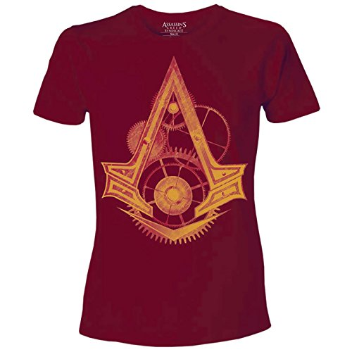 Meroncourt Herren Assassin's Creed Syndicate Industrial Brotherhood Crest Logo T-Shirt, rot, XL