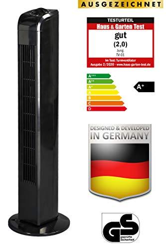 JUNG TV02 Ventilator leise 76cm schwarz, ENERGIESPAREND - Verbrauch 0,05 kW/h, Turm-lüfter Lautstärke 48dbA, BESTSELLER,3 Stufen, 75° Oszillation