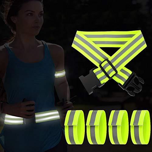 AivaToba Reflektorband Fahrrad Reflektoren Kinder Armband 5 stück Reflektor Gürtel Sicherheit,Reflektierendes Band für Laufen Joggen Radfahren Hundewandern Running