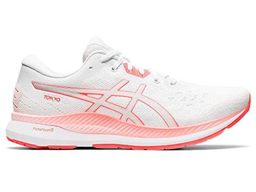 ASICS Zapatos de running Evoride Tokyo para mujer, blanco (Blanco/Rojo amanecer), 42 EU