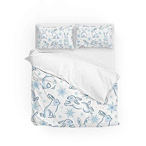 161 Soft Quilt Bedding Set Bunny Snowflakes Duvet Cover with 2 Pillowcases Set 3 Pieces 230 x 220 CM, King