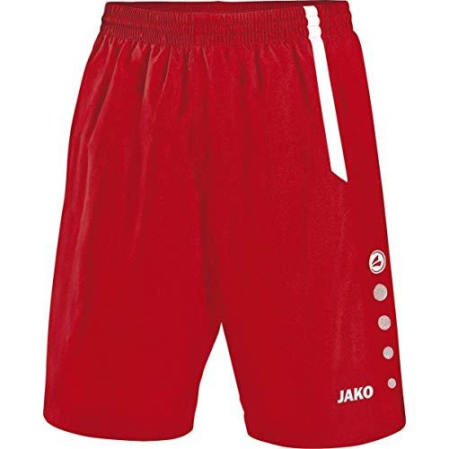 JAKO Kinder Fußball Sporthose Turin, Rot/Weiß, 164, 4462
