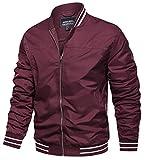TACVASEN Men's Bomber Jackets Spring Fall Lightweight Windbreaker Multi Pockets Red, L