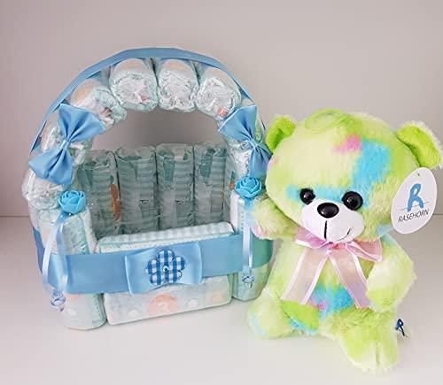 Windeltorte blau für Jungen, Geschenk zum Geburt, Taufe, Babyparty Junge, Windeln