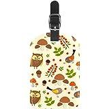 Etiquetas para equipaje de viaje, diseño de búho, pájaros, setas, cuero, 1 paquete