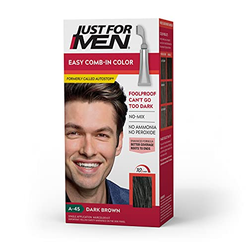 Just For Men Easy Comb-In Color (Formerly Autostop), Gray Hair Coloring for Men with Comb Applicator - Dark Brown, A-45 (Packaging May Vary)
