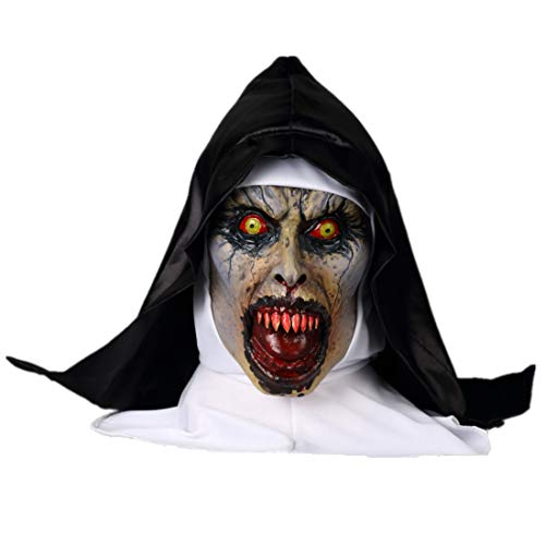 K-Y YK The Conjuring 2 Horror Nun mask Grimace Halloween Scary Latex Hood Movie Props Masquerade mask