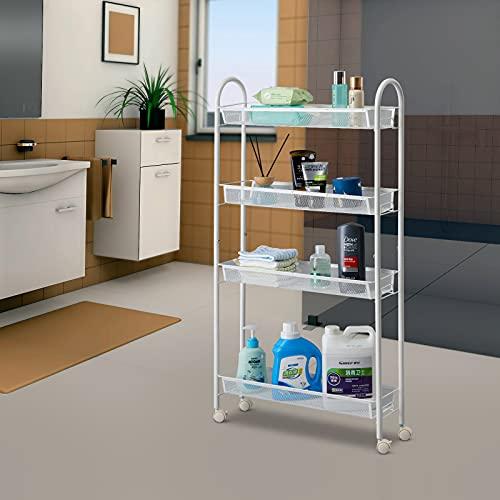 SINGAYE 4 Tier Slim Rolling Cart Kitchen Storage Organizer Mesh Wire Storage Carts with Lockable Wheels(Rolling Slim Cart-4 Tier White)
