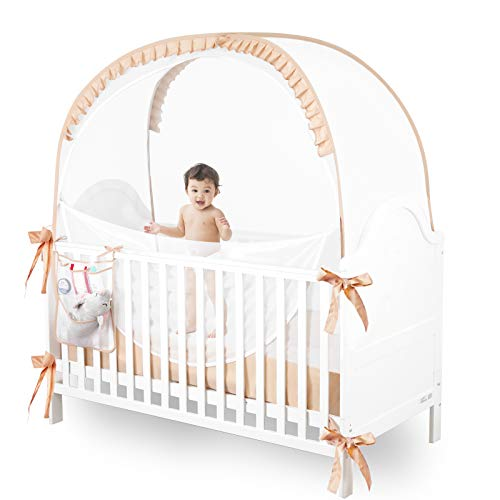 JOINSI Baby Crib Pop up Tent Infant Safety Mesh Cover Mosquito Net - Canopy Cover to Keep Baby from Climbing Out