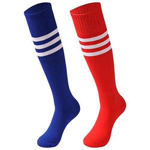 saounisi Adult Long Tube Socks,2 Pairs Knee High Socks Colorful Fashion Stripe Football Soccer School Team Sports Socks Size 9-13 Red/Navy