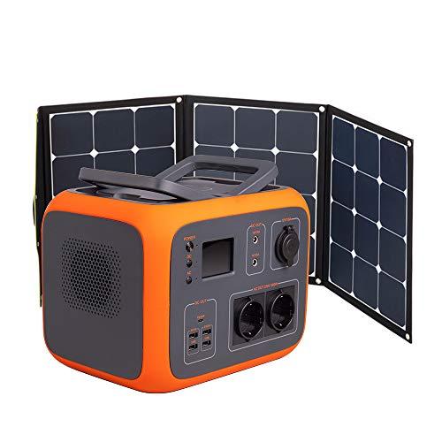 Kirron Powerstation AC50 + Solartasche Sunfolder 120W I 500 Wh/300 W I 230 V Powerbank Steckdose I Notstromaggregat mit AC DC USB Anschlüssen und LED Taschenlampe I Stromspeicher Camping & mehr